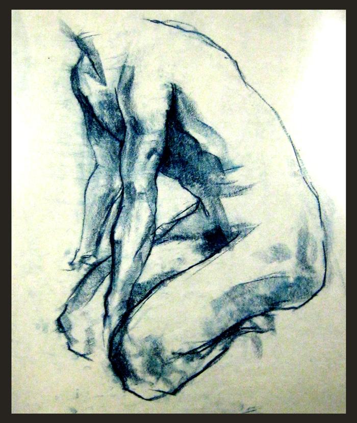 Three Minute Gesture using blue graphite