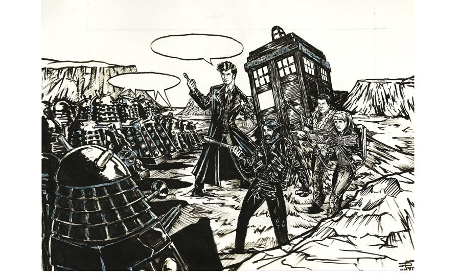 The Tenth Doctor and MacReady VS The Red Daleks